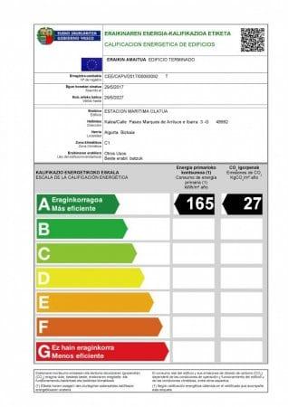 Etiqueta registrada en industria de la calificacion energética A conseguida.