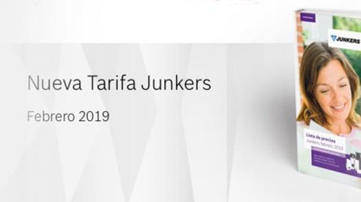 Ya está disponible la nueva tarifa de Junkers para el año 2019