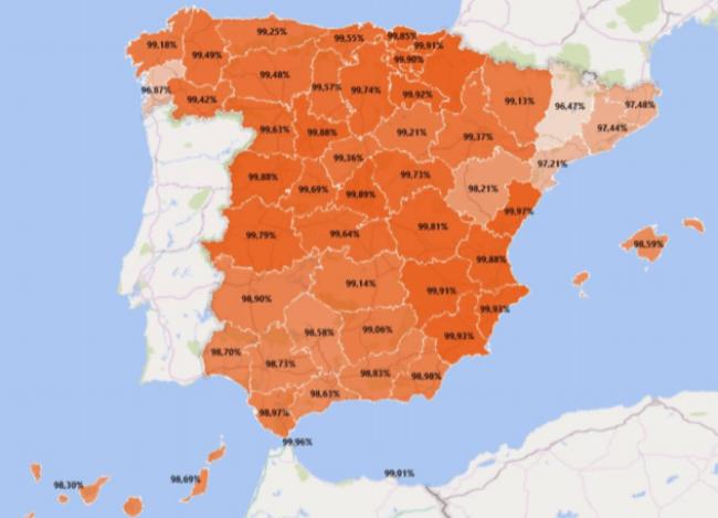 mapa implantación contadores por provincia