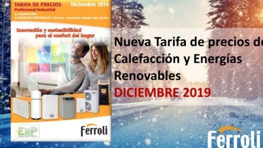 Tarifa precios calefacción y renovables Ferroli diciembre 2019