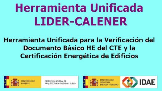 Nueva versión LIDER CALENER (HULC) para verificación del DB-HE 2019
