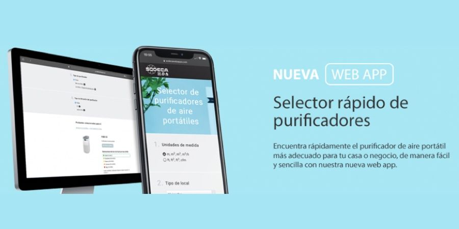 Nueva web app SODECA para seleccionar purificadores portátiles para locales