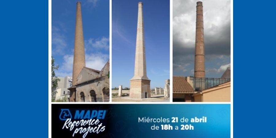 Webinar de Mapei sobre la rehabilitación de las chimeneas industriales de Can Rigart, Agost y Quart