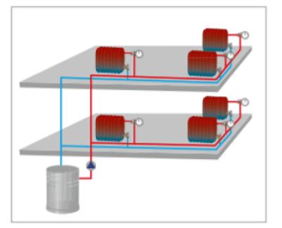 esquema calefaccion con valvulas radiador termostaticas